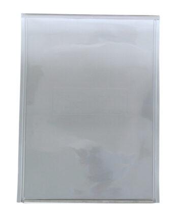 FLAP Has Rectangular Logo With Smooth Metal Bar On Vinyl Flap/Aluminum Frame.